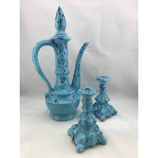 Mid Century Vintage Ceramic Decanter W Matching Candlesticks Set For Sale - Image 11 of 11