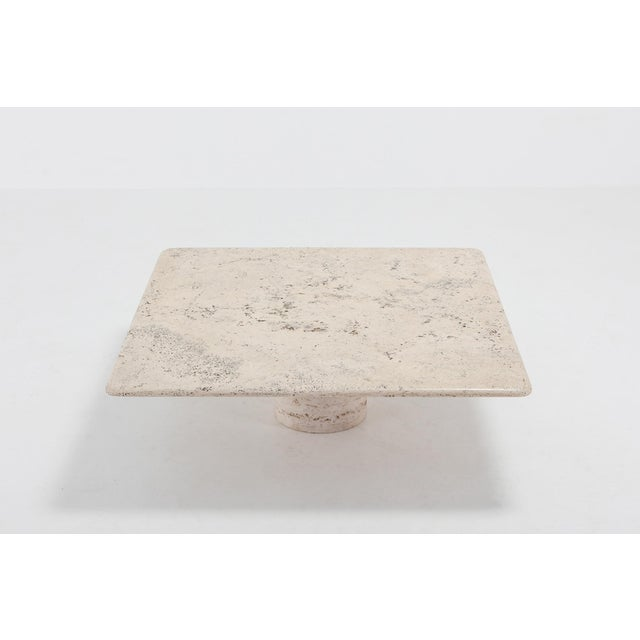 1970s Mangiarotti Square Travertine Coffee Table for Up & Up For Sale - Image 5 of 9