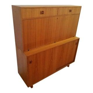 Mid Century Modern Teak Secretary Desk For Sale