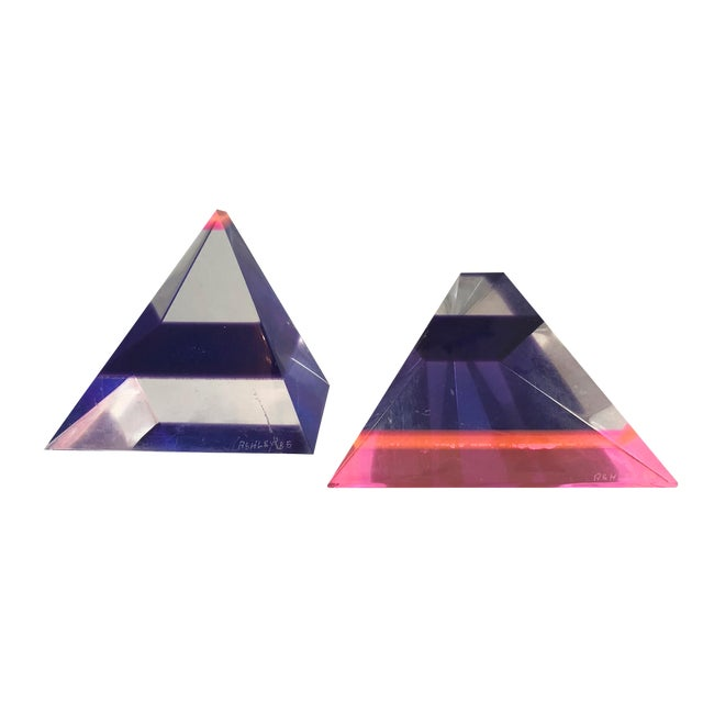 Pair of 1980's Multi -Colored Acrylic 3-D Trapezoids - Signed Ashley Style of Vasa For Sale