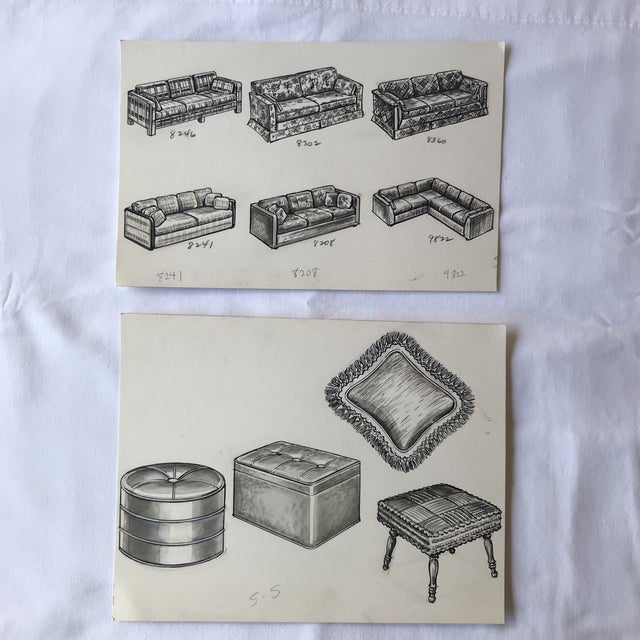 Vanilla 1970s Vintage Furniture Ad Illustrations - A Pair For Sale - Image 8 of 8