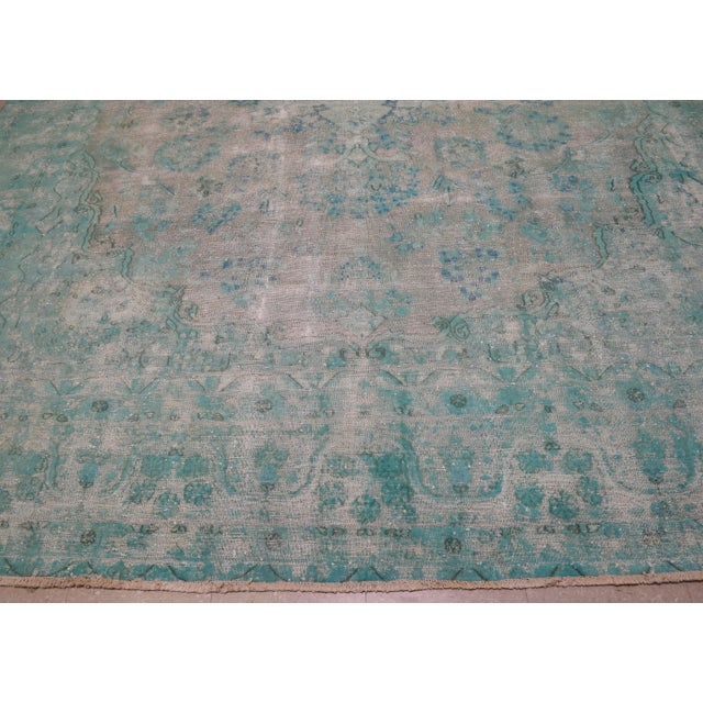 "1940s Boho Chic Persian Turoquoise Wool Kerman Rug - 9'10""x12'10"" For Sale - Image 4 of 7"