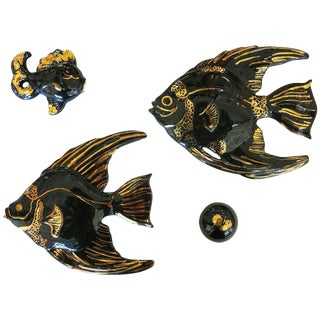 Ceramic Aquatic Angelfish Wall Art Set For Sale