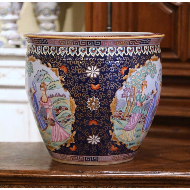 This elegant, colorful, vintage fishbowl was created in China, circa 1960. Round in shape, the large, mid-century...