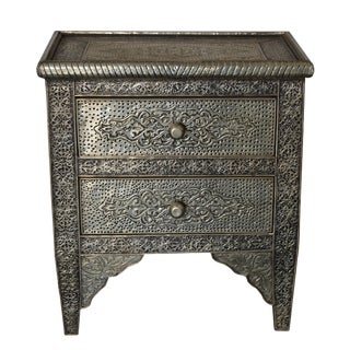 Moroccan Silver Carved Night Stand For Sale