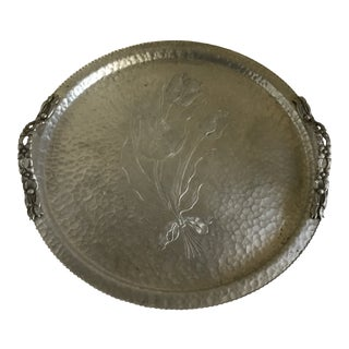1960s Americana Hammered Etched Metal Serving Tray For Sale