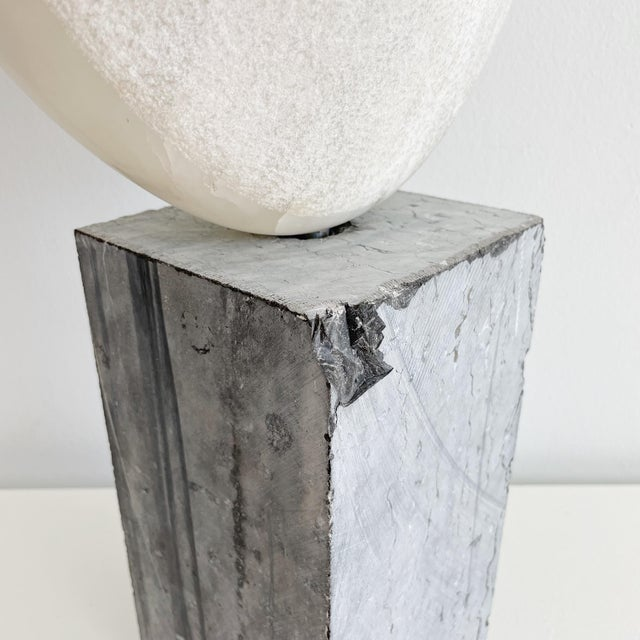 Vintage Freeform Abstract Alabaster Sculpture on Marble Base Circa 1973 Signed O'Day For Sale - Image 9 of 10
