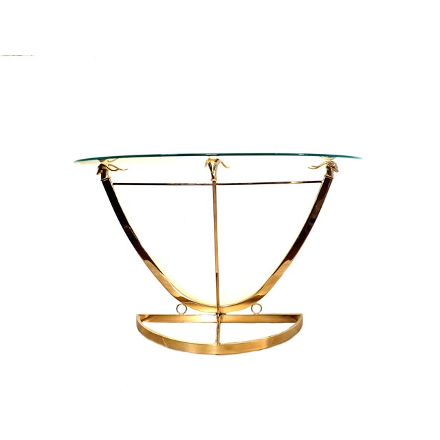 1970s Hollywood Regency Brass Glass Rams Head Console Table For Sale - Image 12 of 12