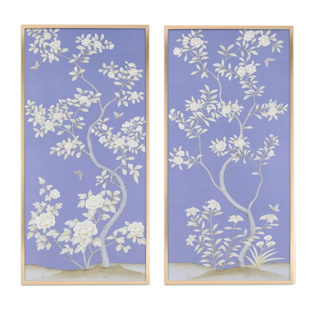 """Jardins en Fleur """"Inverness"""" by Simon Paul Scott Chinoiserie Hand-Painted Silk Diptych, Out of Production - 2 Pieces For Sale In Los Angeles - Image 6 of 6"""