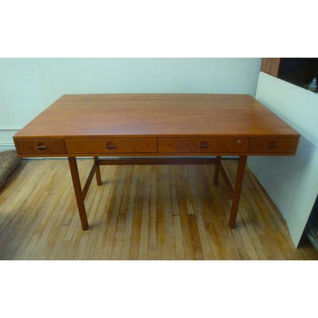Danish Modern Dansk Lovig Flip-Top Teak Partners Desk or Table For Sale - Image 3 of 10