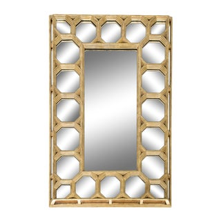 Octagonal Carved Giltwood Wall Mirror For Sale