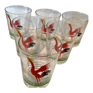 Mid Century Federal Glass Cock-Cro Bar Glasses - Set of 6 For Sale