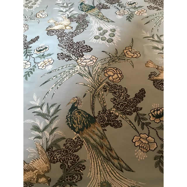"""Miles Redd for Schumacher """"Peacock"""" in Aqua Chintz Fabric - 2 1/2 Yards For Sale In Raleigh - Image 6 of 8"""