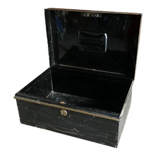 1890s English Cash Box, Metal Office Organization Container