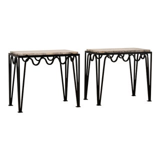 Méandre' Black Iron and Silver Travertine Side Tables by Design Frères - a Pair For Sale