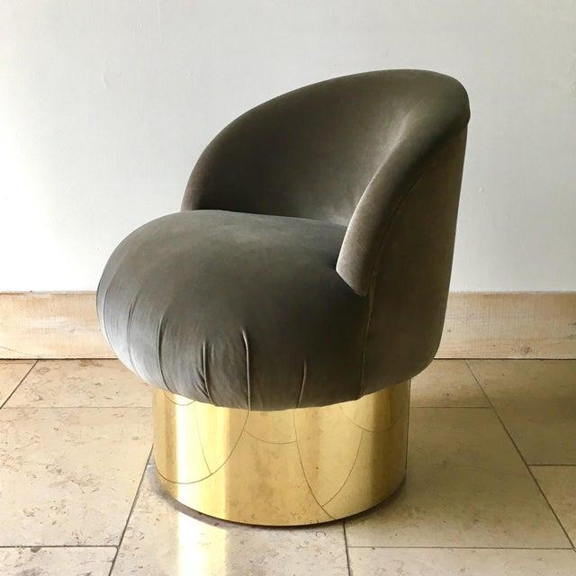 1960s Pair of Brass Based Grey Velvet Tub Upholstered Swivel Chairs For Sale - Image 5 of 6
