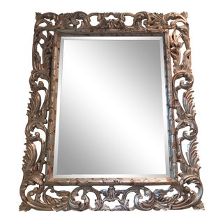 Art Deco Silver Brocade Large Wall Mirror For Sale
