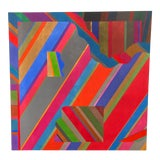 Image of Large 1970s Graphic Hardedge Geometric Painting by Roland Ginzel For Sale
