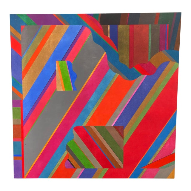 Large 1970s Graphic Hardedge Geometric Painting by Roland Ginzel For Sale