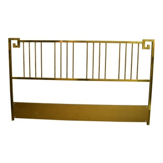 Mastercraft Mid-Century Modern Greek Key Faux Bamboo Brass King Size Headboard For Sale