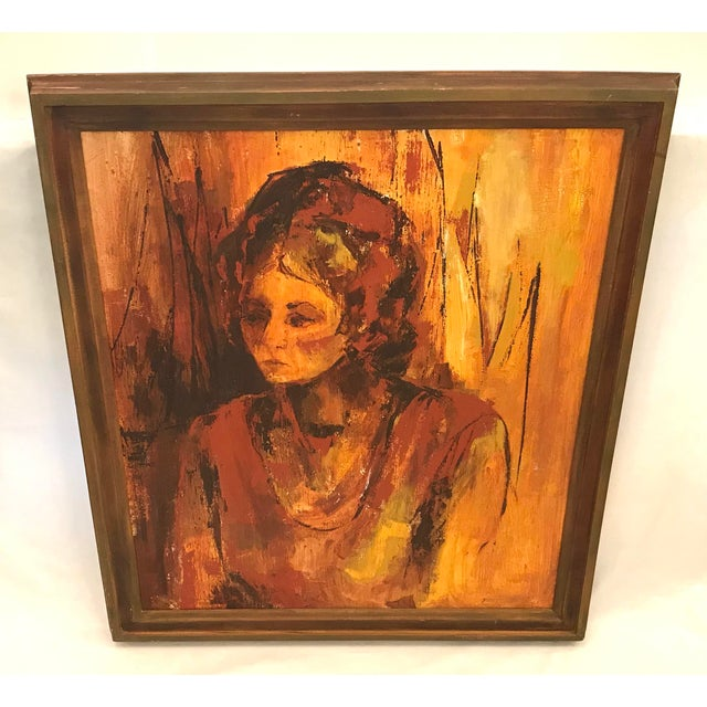 """Beautiful portrait from the 60s of a woman in Lang, gold and brown shads. Art work dimensions 26"""" x 30""""."""