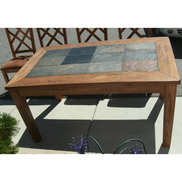Rustic Slate Inlay Dining Table With Double Crossback Cushion Chairs