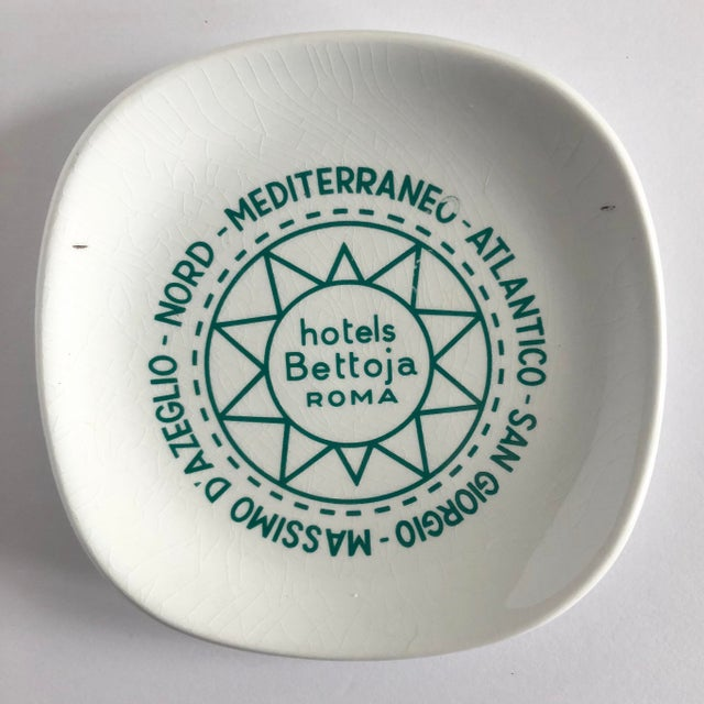 Green Vintage Hotels Bettoja Roma Italy Ashtray For Sale - Image 8 of 8