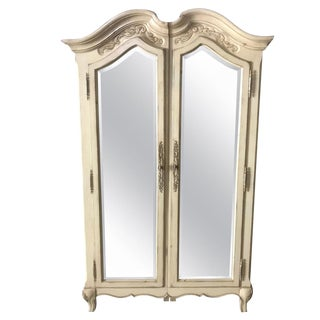 Lovely Pair of Cream Painted and Mirrored Armoires For Sale