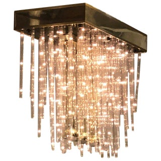 Modern Three Light Flush Mount Chandelier For Sale