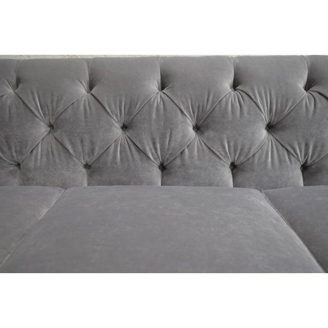 Mid-Century Modern Modern Velvet Chesterfield Sofas- A Pair For Sale - Image 3 of 7