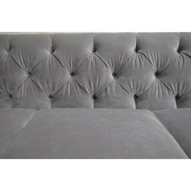 Modern Velvet Chesterfield Sofas- A Pair | Chairish