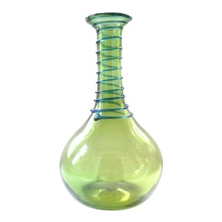 Vintage Mid Century Blenko Handblown Green With Blue Swirl Art Glass Vase For Sale
