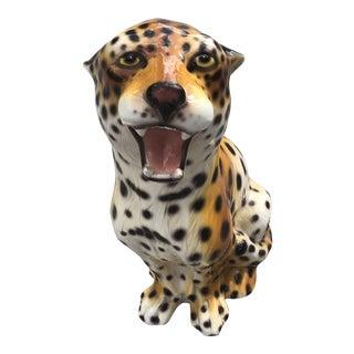 1960s Vintage Capodimonte Style Italian Porcelain Leopard For Sale