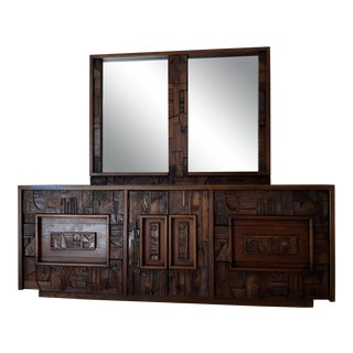 1970s Brutalist Lane Triple Dresser or Credenza with Double Mirror For Sale