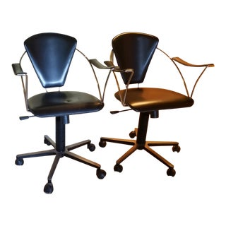 Vintage Mid-Century Leather Arne Jacobsen Style Rolling Desk Chairs - a Pair For Sale