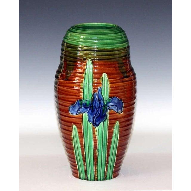 Art Nouveau Awaji Pottery Art Nouveau Carved Iris Vase For Sale - Image 3 of 11