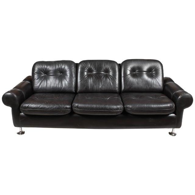 Danish Retro Black Sofa - Image 1 of 6