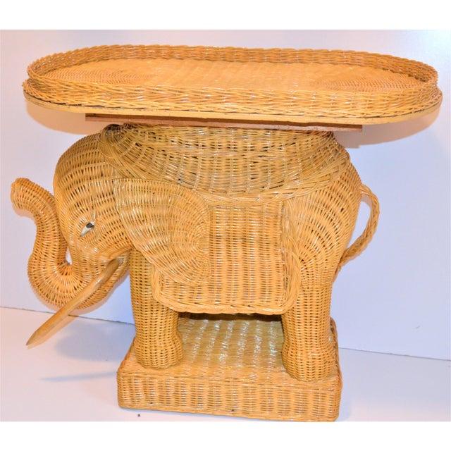Boho Chic Wicker Rattan Elephant Tray Table (Final Markdown Taken) For Sale - Image 9 of 13