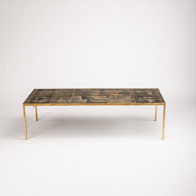 Leather Vintage Chinoiseries Top Coffee Table With Leather Trim For Sale - Image 7 of 11