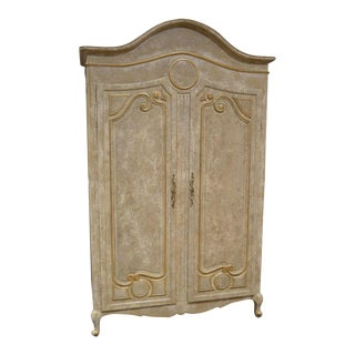 1980s Neoclassical Large 2 Door Distressed Crackle Finish Armoire For Sale