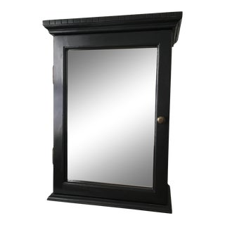 Black Painted Hanging Wall Cabinet With Etched Starburst Mirror For Sale