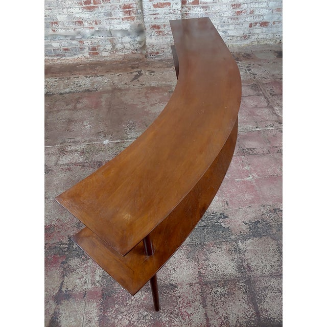 Brown 1960s Mid-Century Modern Walnut Two Tier Curvy Console For Sale - Image 8 of 12