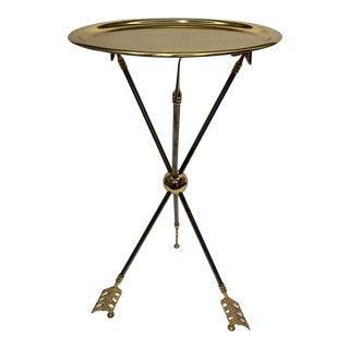 Maison Jansen Brass and Steel Arrow Motife Side End Table For Sale