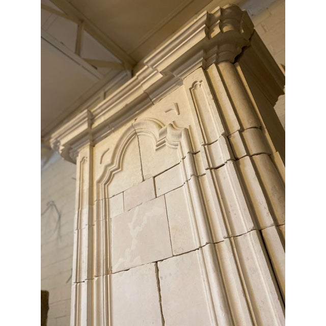 Mid 18th Century Antique Limestone Mantel with Trumeau For Sale - Image 5 of 8