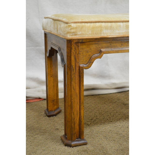 Drexel Heritage Pair of Vintage Walnut Stools or Benches For Sale - Image 9 of 13