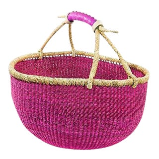 African Boho Chic Bolga Ghana Medium Pink Woven Fiber Basket For Sale
