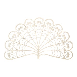 White Rattan Bamboo Peacock Fan Wall Decor