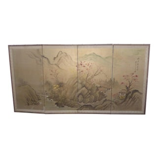 Vintage Japanese Hand Painted Folding Screen