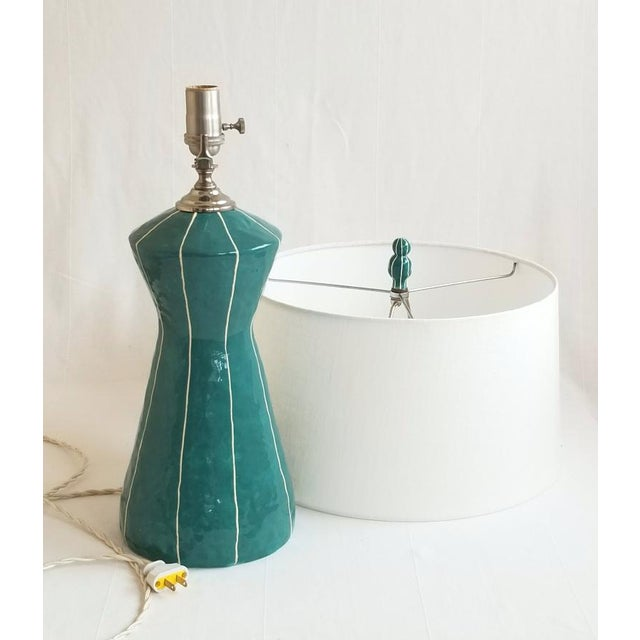 kRI kRI Studio Teal Blue Ceramic Table Lamp For Sale - Image 4 of 6