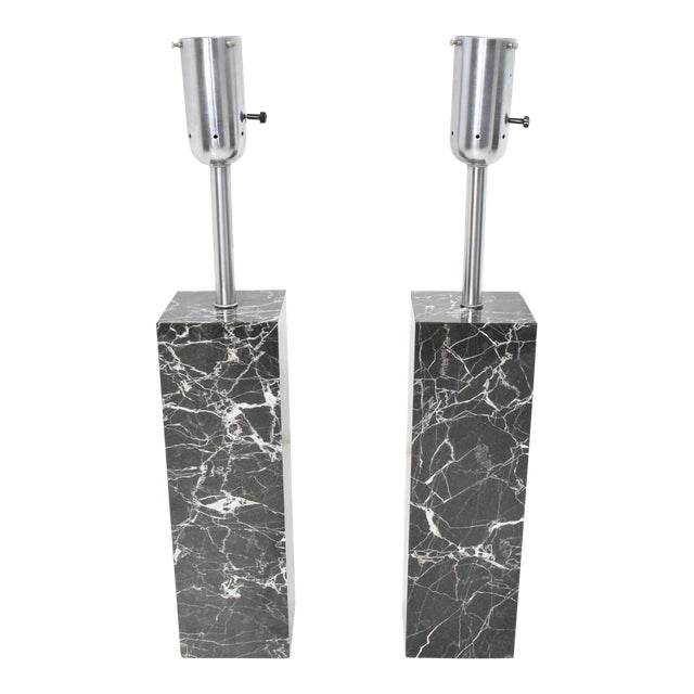 Marble Table Lamps by Nessen Studio - a Pair For Sale